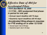effective date of 404 for accelerated filers