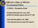 effective date of 404 for accelerated filers1
