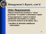 management s report cont d