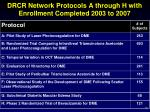 drcr network protocols a through h with enrollment completed 2003 to 2007