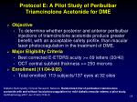protocol e a pilot study of peribulbar triamcinolone acetonide for dme
