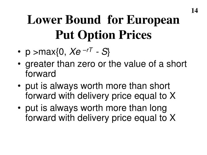 Lower Bound  for European Put Option Prices