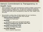 aetna s commitment to transparency in health care