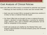 cost analysis of clinical policies