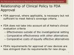 relationship of clinical policy to fda approval