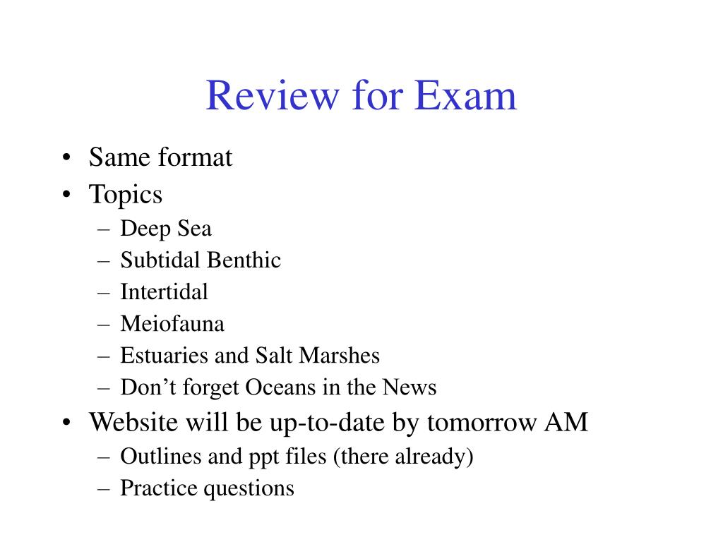 review for exam l.