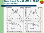 geant3 and geant4 vmc in alice hits in the tpc