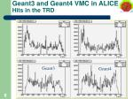 geant3 and geant4 vmc in alice hits in the trd