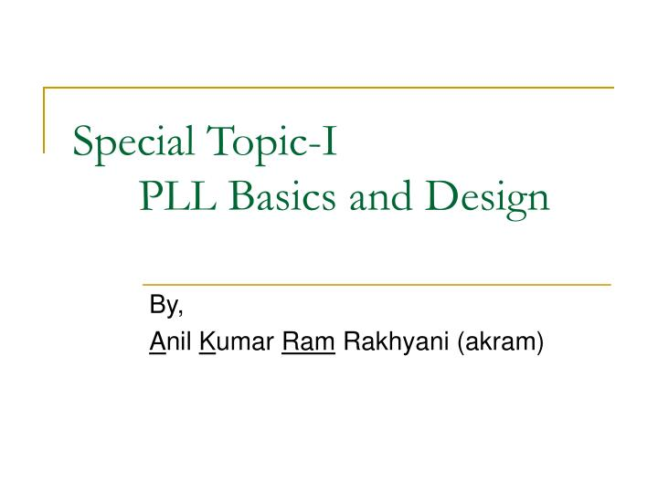 special topic i pll basics and design n.