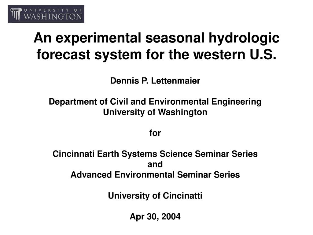 an experimental seasonal hydrologic forecast system for the western u s l.