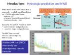introduction hydrologic prediction and nws
