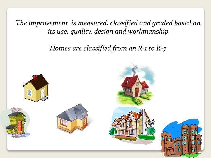 The improvement  is measured, classified and graded based on its use, quality, design and workmanship