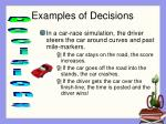 examples of decisions