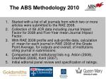 the abs methodology 2010