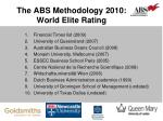 the abs methodology 2010 world elite rating