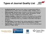 types of journal quality list
