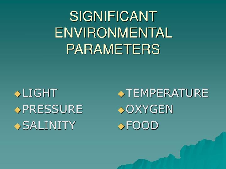 Significant environmental parameters