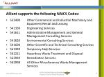 alliant supports the following naics codes