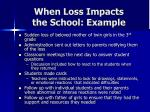 when loss impacts the school example
