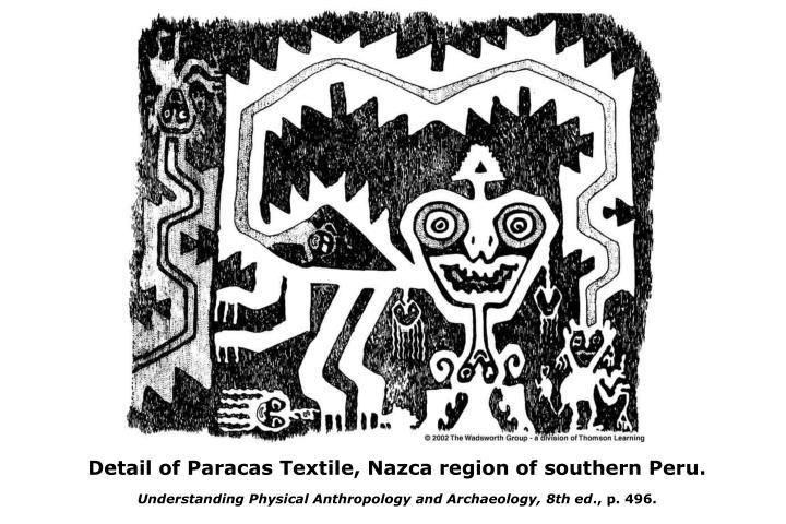Detail of Paracas Textile, Nazca region of southern Peru.