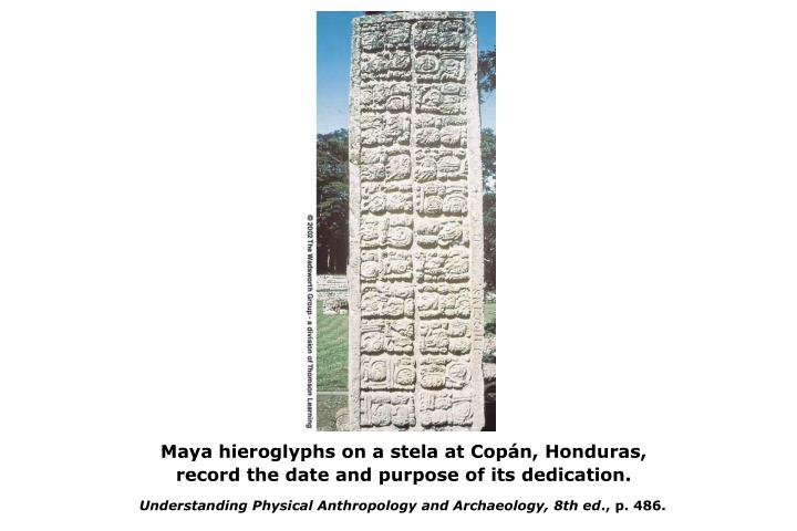 Maya hieroglyphs on a stela at Copán, Honduras,