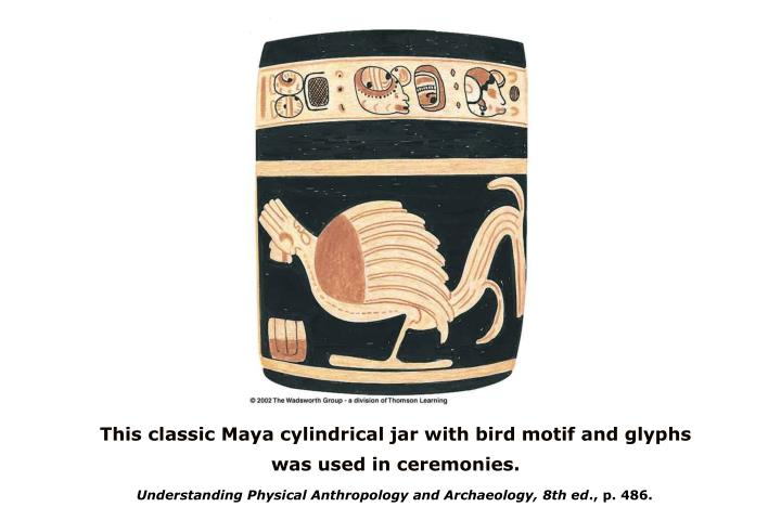This classic Maya cylindrical jar with bird motif and glyphs