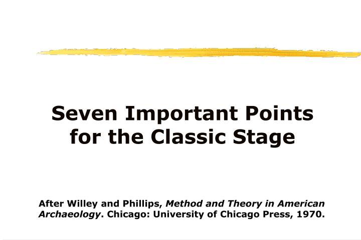 Seven Important Points