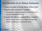 key benefits of an allison automatic