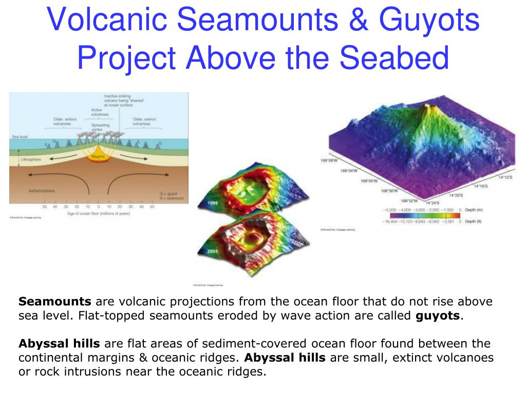 Volcanic Seamounts & Guyots Project Above the Seabed
