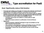 type accreditation for paas