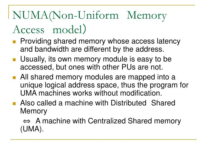Numa non uniform memory access model