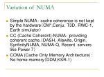 variation of numa