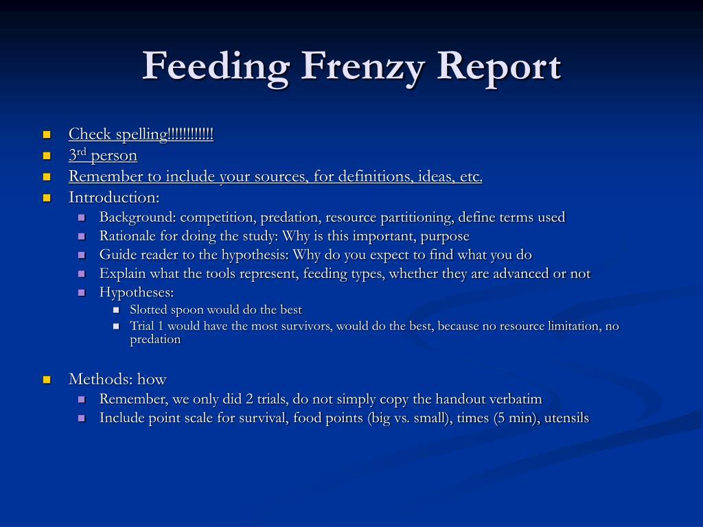 feeding frenzy report l.