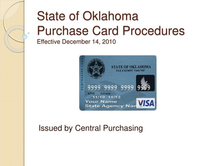 state of oklahoma purchase card procedures effective december 14 2010 n.