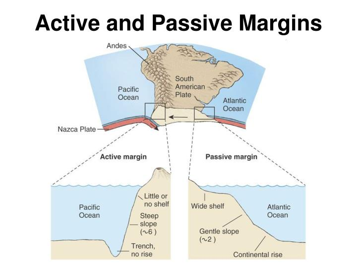 active and passive margins n.