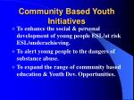 community based youth initiatives