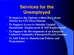 services for the unemployed