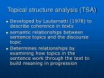 topical structure analysis tsa