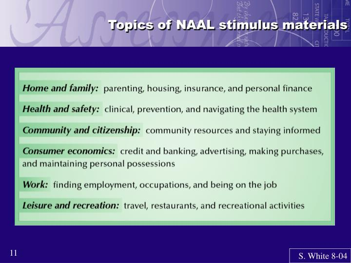 Topics of NAAL stimulus materials