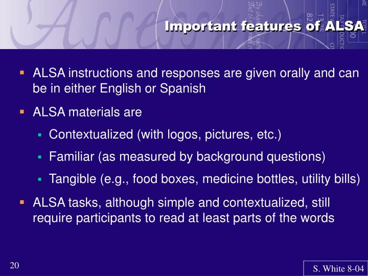 Important features of ALSA