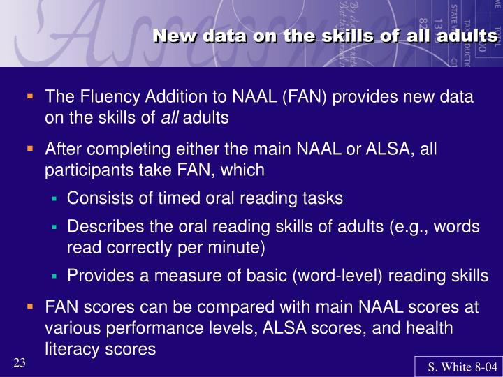 New data on the skills of all adults