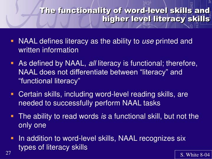 The functionality of word-level skills and