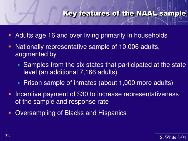 Key features of the NAAL