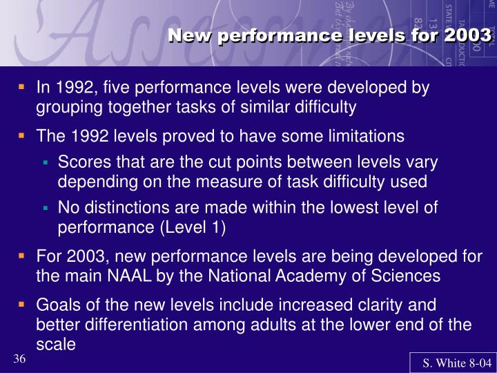 New performance levels for 2003
