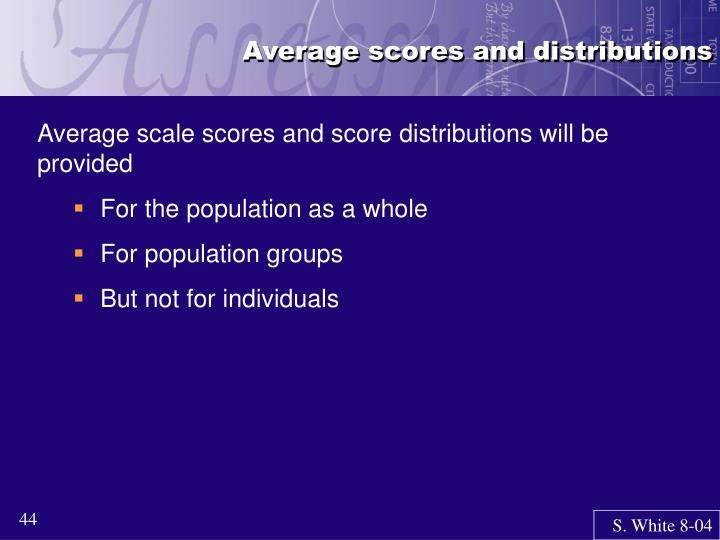Average scores and distributions