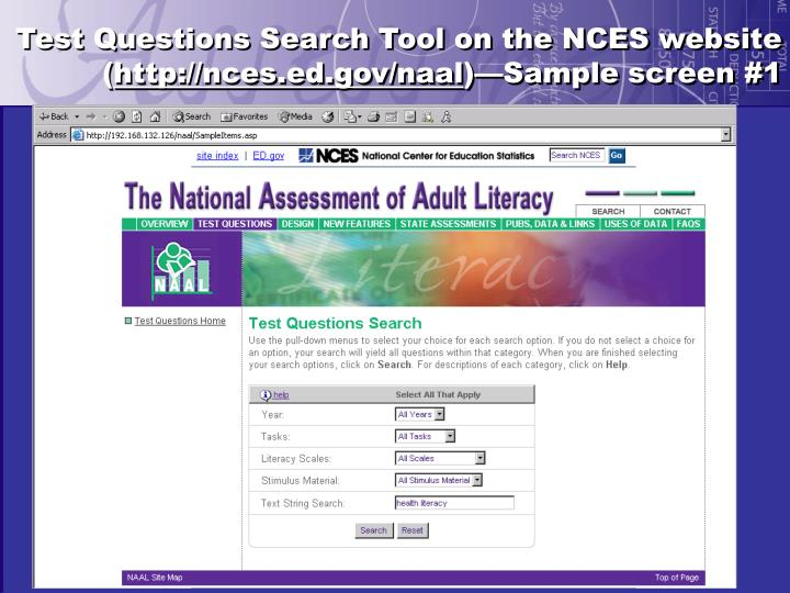 Test Questions Search Tool on the NCES website (