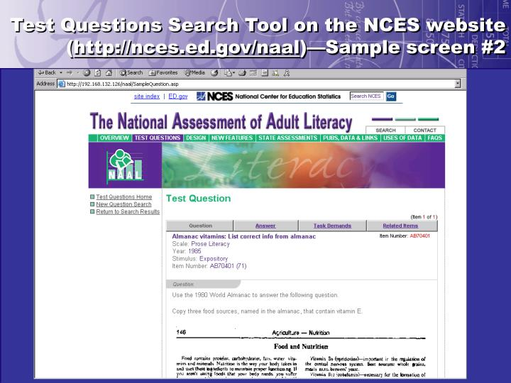 Test Questions Search Tool on the NCES website