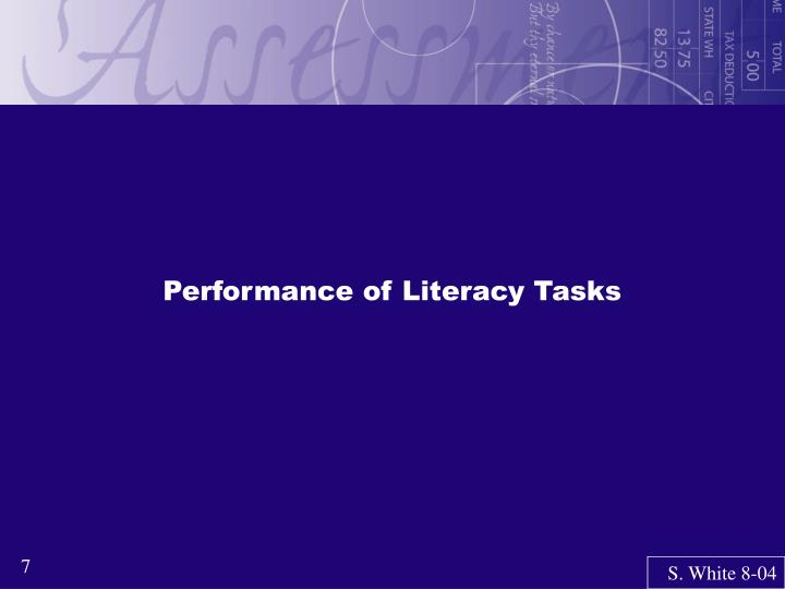 Performance of Literacy Tasks