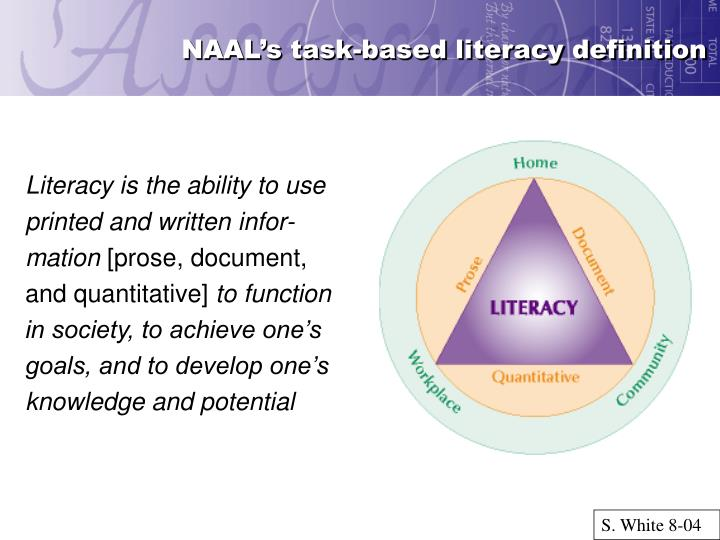 NAAL's task-based literacy definition