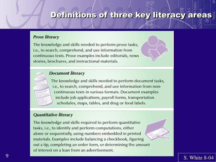 Definitions of three key literacy areas